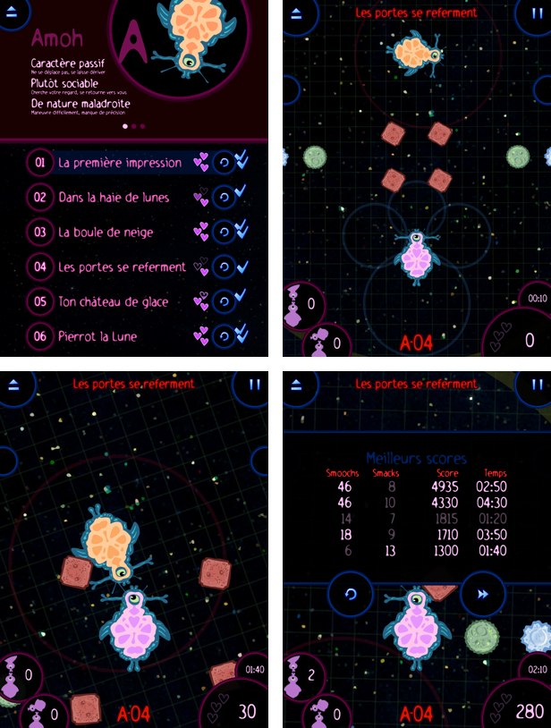 (c)2012 Alexandre Ayotte, 4 screenshots, Kiss in Space (v Alpha)